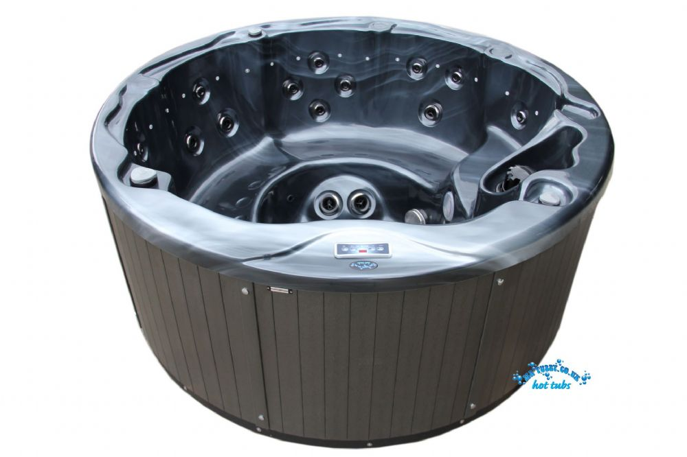 JUPITER HOT TUB SPA - ROUND 2.0m DIAMETER, LUCITE SHELL, BALBOA CONTROLS IN BLACK MARBLE